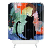 Ginette Fine Art Black Cat Shower Curtain