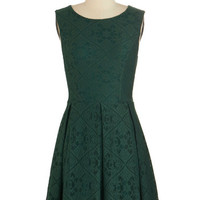 ModCloth Mid-length Sleeveless A-line Happily Emerald After Dress