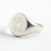 Vintage Sterling Silver Signet Ring - Size 10 Monogram Initial Mens or Womens Jewelry with Fancy Script Letters BCL