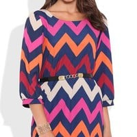 Chevron Print Shift Dress with Chain Belt Waist