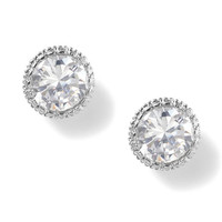 8MM Cubic Zirconia Round Cut Vintage Set Stud Earrings