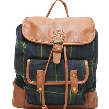 LA Hearts Plaid Faux Leather Trim School Backpack - Womens Backpack -