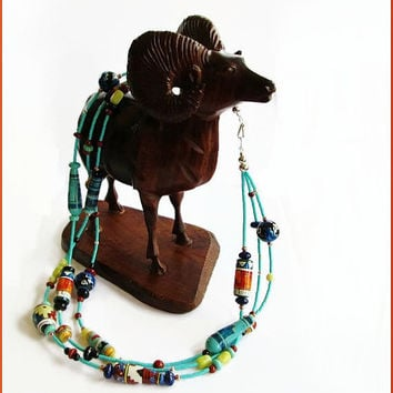 Southwestern Triple Strand Beaded Necklace - Vivid Desert and Sky Colors