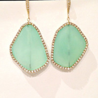 Aqua Chalcedony Slice Earrings Gemstone Slice Earrings Diamond Look Swarovski Crystal Aqua Statement Earrings - Lorina