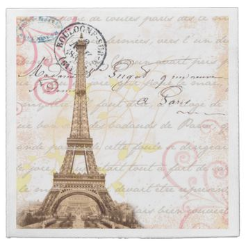 Paris Vintage French Writing Pink Napkins