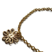 Dainty Flower Bracelet Gold Dandelion by TheBonnyBoutique on Etsy