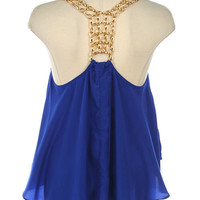 CHAIN STRAP HIGH-LOW RACERBACK BLOUSE