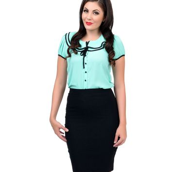 Green Collared Button Up Chiffon Blouse - New Arrivals!