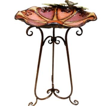 Metal Red Hearts Birdbath with Bird