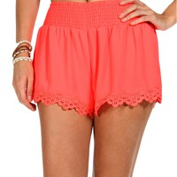 Neon Orange Lace Trim Short