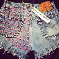 NEW Pink High waisted denim shorts Super Studded Super frayed jean shorts all sizes S/M/L/XL/XXL