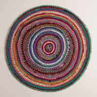 3' Round Striped Chindi Area Rug - World Market