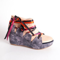 LOW SUMMER WEDGES  Open sandal wedges in dyed black by NorTin