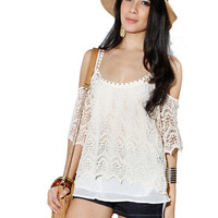 Papaya Clothing Online :: CROCHET OPEN SHOULDER TOP