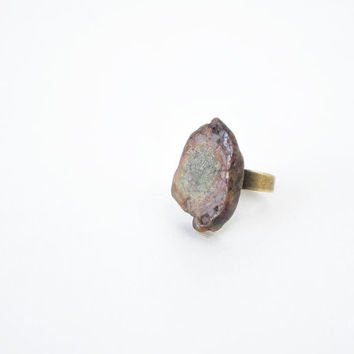 Raw Unakite Stone Ring, Fern Green Stone Statement Ring, Vintage Feel, Unakite Jewelry