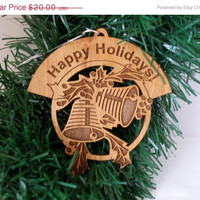 Christmas in July Sale Personalized engraved Two bells alder  wood Happy Holidays  Christmas ornament two sided