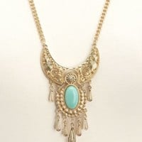 SWIRLING PANELED FRINGE BIB NECKLACE