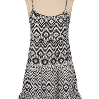 Ethnic print bar back babydoll dress