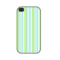 Blue Green Stripes Rubber iPhone Case iPhone 4 iPhone by caseOrama