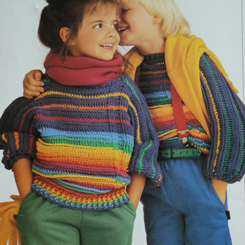 Vintage childrens sweater crochet rainbowstripes pattern PDF Instant Download knitting supplies epsteam knitting pattern kids unisex child