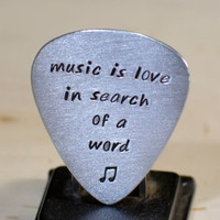 Music is Love in Search of a Word Aluminum Guitar Pick