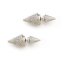 Micro Pave Double Cone Earrings (Silver)