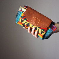 Leather clutch , Navajo print clutch, leather handbag, leather bag, wool clutch, linen clutch, Southwestern bag , Boho bag, bohemian purse