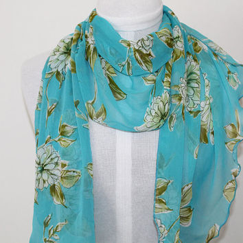 Turquoise with Green Floral / Ripple Edge Chiffon Scarf / Opera Length