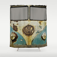 VW Rusty Shower Curtain by Alice Gosling
