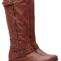 Chestnut Quilted Double Buckled Boots @ Cicihot Boots Catalog:women's winter boots,leather thigh high boots,black platform knee high boots,over the knee boots,Go Go boots,cowgirl boots,gladiator boots,womens dress boots,skirt boots.
