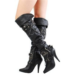 Anne Michelle Cougar20 Black Studded Strappy Chain Thigh Boots and Women's Fashion Clothing  Shoes - Make Me Chic