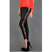 7015 Black Lace Side Stripe Leggings and Womens Fashion Clothing  Shoes - Make Me Chic
