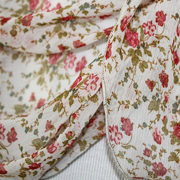 Vintage Rose / Ripple Edge Chiffon Scarf / Opera Length