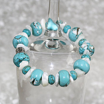 Chunky Magnesite and Mother of Pearl Stretch Bracelet, Elastic Bracelet, B121