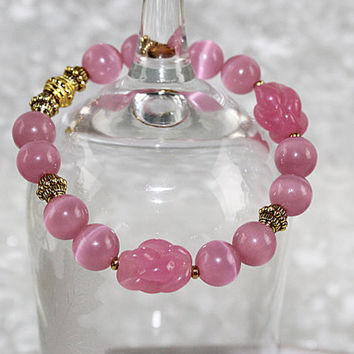 Rose Quartz Pink Stretch Bracelet, Pink Glass and Rose Quartz Elastic Bracelet, B101