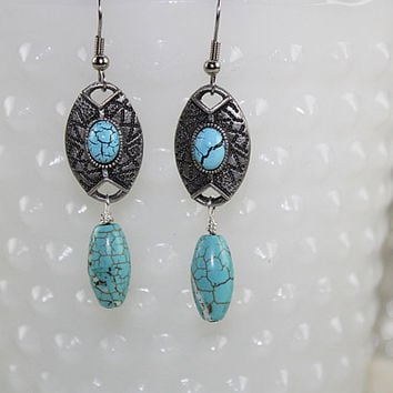 Southwest Magnesite Earrings, Pierced Earrings, E106