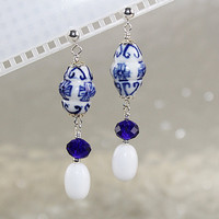 Delft Blue Porcelain Earrings, Post Earrings, Pierced Earrings, E116