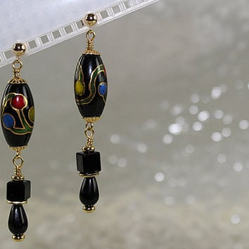 Bohemian Glass Earrings, Black Earrings, Post Earrings, Pierced Earrings, E120