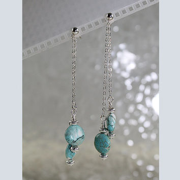 Magnesite Chain Dangle Earrings, Pierced Earrings, E105