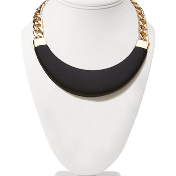 Faux Leather Bib Necklace