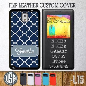 Custom Your Name Navy Lattice Pattern Flip Leather Cover @ Samsung Galaxy S4 case S3 , Samsung Note 3 Note 2 , IPhone 5 5S , IPhone 4 4S L15