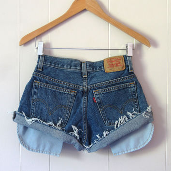 Vintage Levi's Dark Wash Cut Off Denim Shorts Jean Cuffed Distressed 26""