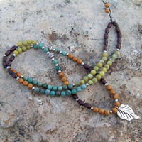 Long Bohemian Necklace - African Jade New Olive Jade Wood Jasper Gemstones - Silver Leaf Pendant - Tribal Hippie Beaded Necklace