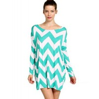 ColorMC Women's Chevron Print Long Sleeve Shift Dress Large Mint