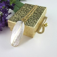 Large Iridescent White Gold Shell Pendant Necklace Chain Dressy