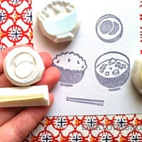 japanese food stamp set. breakfast stamp set. hand carved rubber stamp. hand carved stamp. meal rubber stamps. craft supplies.set of 4