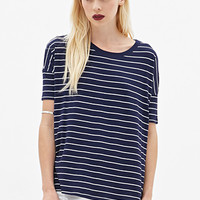 FOREVER 21 Boxy Striped Tee Navy/Cream Medium