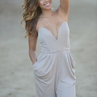 Textured Deep V Tube Long Jumpsuit