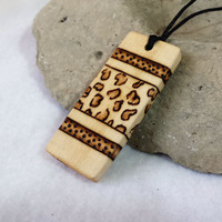 Wood Pendant Leopard Pattern Wooden Necklace Pendant Leopard Design Natural Jewelry
