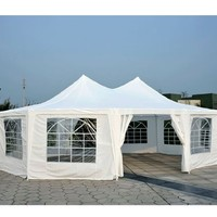 Outsunny 29' x 20' Large Decagon 10-Wall Party Canopy Gazebo Tent - White